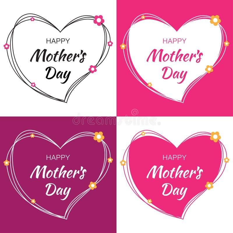 A rotulação feliz do vetor do dia de mães ajustou-se com corações e flores Sira de mãe ao cartão do dia do ` s com coração do gar ilustração stock
