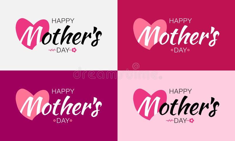 A rotulação feliz do vetor do dia de mães ajustou-se com forma e flor do coração Fundo do cartão do dia do ` s da mãe ilustração stock