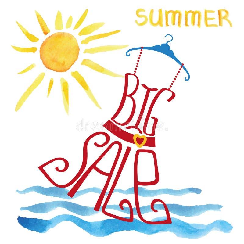 Rotulação grande da venda do verão Dres vermelho, sol da aquarela ilustração royalty free