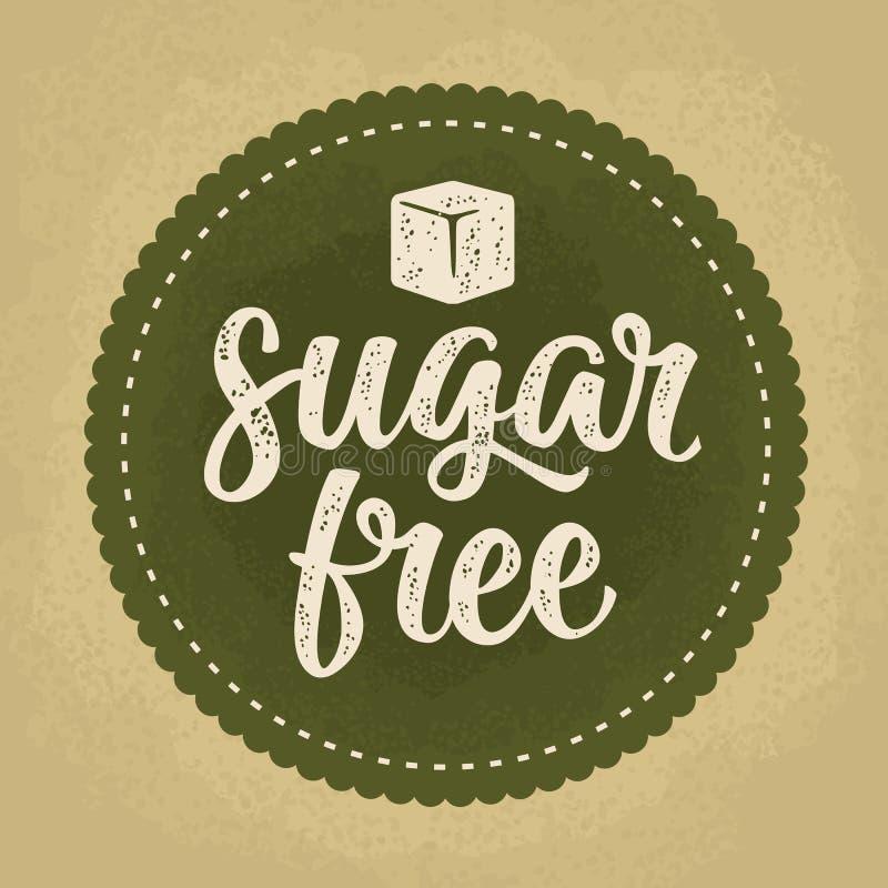 Rotulação livre do açúcar com cubo Obscuridade do vetor - ilustração verde do vintage ilustração royalty free