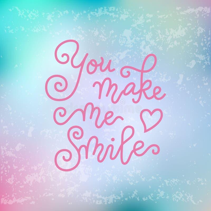 A rotulação moderna da caligrafia de você faz-me sorrir no rosa no fundo textured cor-de-rosa azul ilustração royalty free