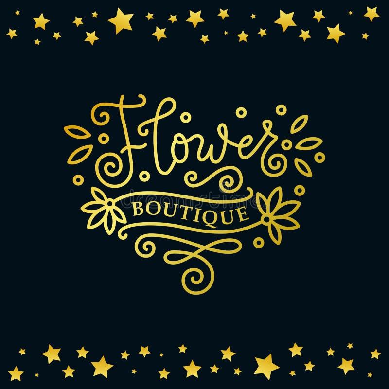 Rotulação moderna da caligrafia do boutique da flor em dourado no fundo escuro com quadro de estrelas douradas ilustração do vetor