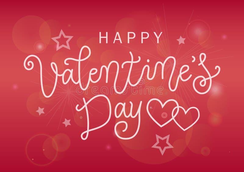 Rotulação moderna da caligrafia do dia de Valentim feliz no branco no fundo cor-de-rosa do inclinação decorado com estrelas ilustração royalty free