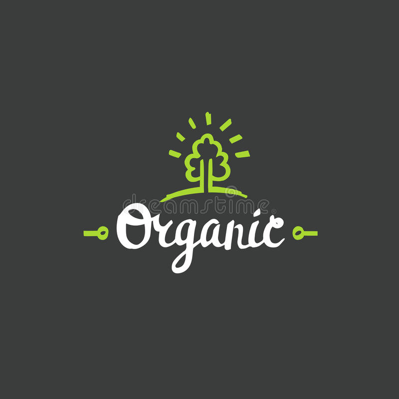 Rotulação orgânica tirada mão Molde verde orgânico do logotipo do vetor bio fotografia de stock royalty free