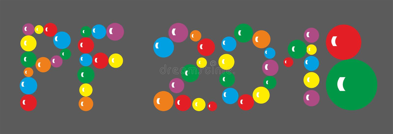 Rotulação PF 2018 das bolas coloridas no fundo escuro ilustração royalty free