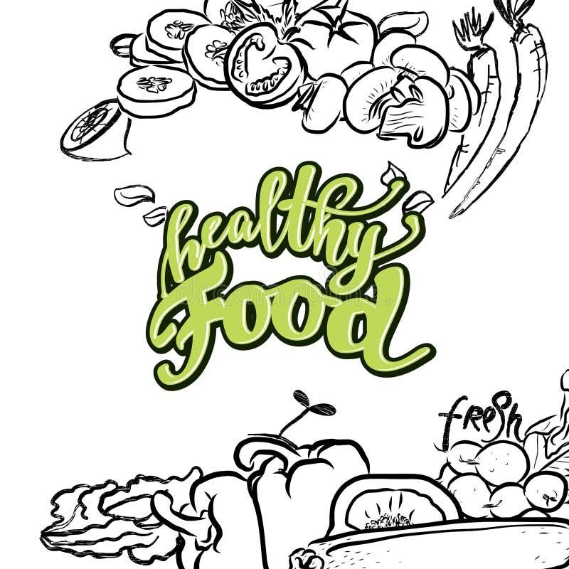 Rotulação saudável do alimento ilustração stock