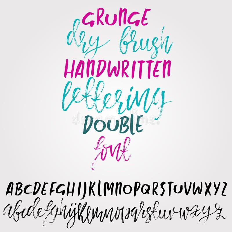 Rotulação seca tirada mão da escova Alfabeto do estilo do Grunge Fonte escrita à mão Ilustração do vetor ilustração royalty free