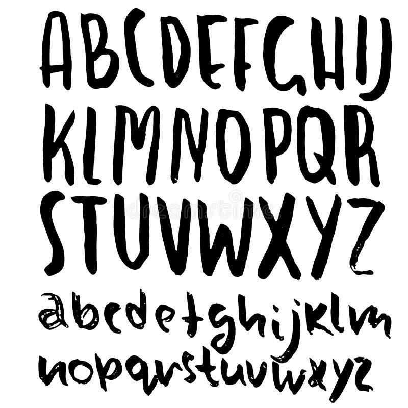 Rotulação seca tirada mão da escova Alfabeto do estilo do Grunge Fonte simples Ilustração do vetor ilustração do vetor