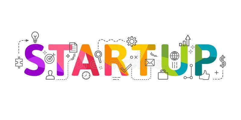 Rotulação Startup da palavra no projeto colorido com ícones relacionados ilustração royalty free
