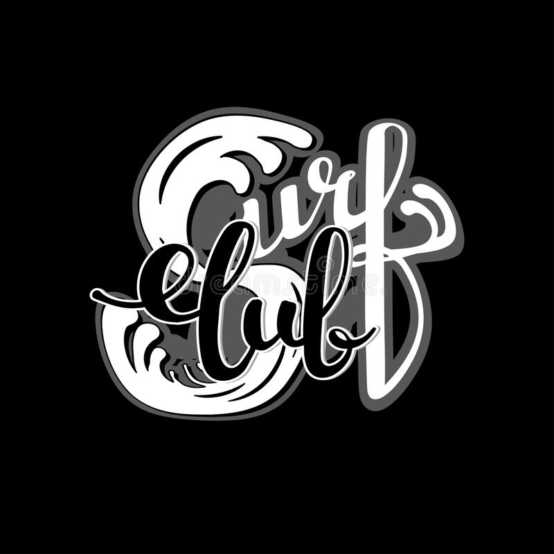 Rotulação surfando do clube ilustração royalty free