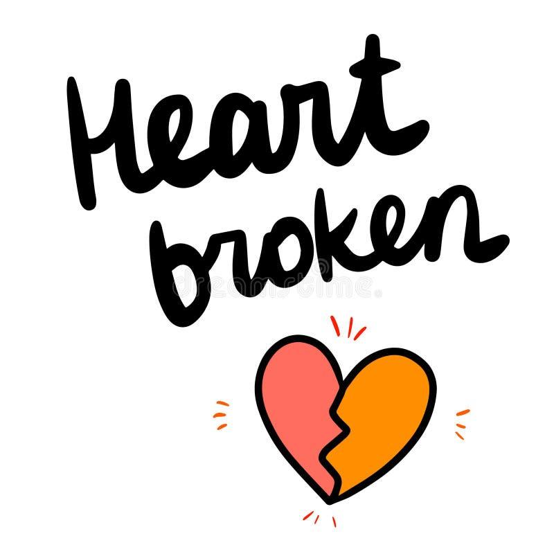 Rotulação tirada do coração mão quebrada com ilustração ilustração do vetor