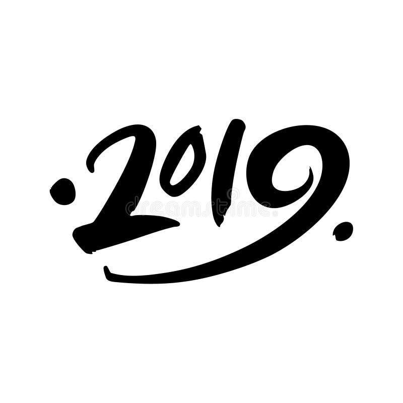 Rotulação tirada do número 2019 mão preta no fundo branco ilustração stock