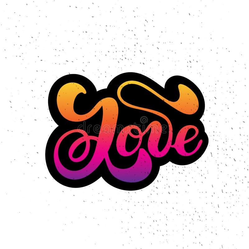 Rotulação tirada mão da palavra do amor Seque a textura da escova Caligrafia moderna Ilustração do vetor de Grunge ilustração stock