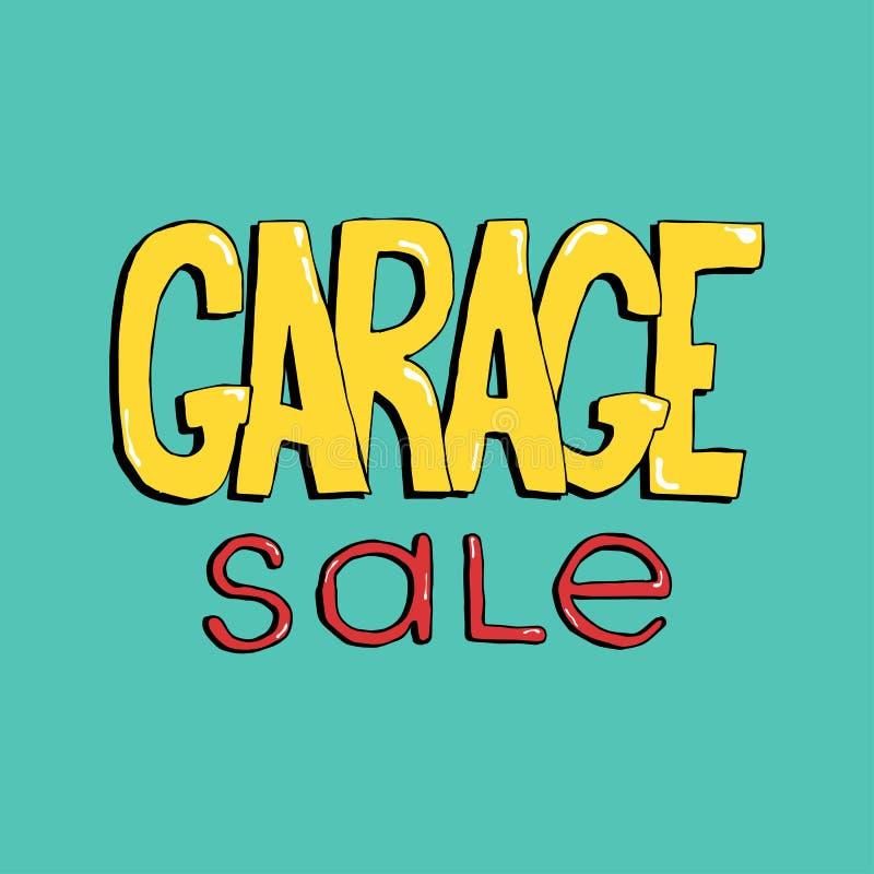 Rotulação tirada mão da venda de garagem Inscrição colorida do vetor do anúncio do evento ilustração do vetor