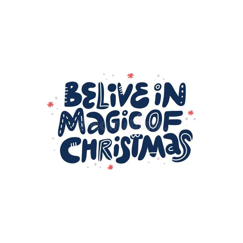 Rotulação tirada mão das citações do desejo do Natal ilustração royalty free