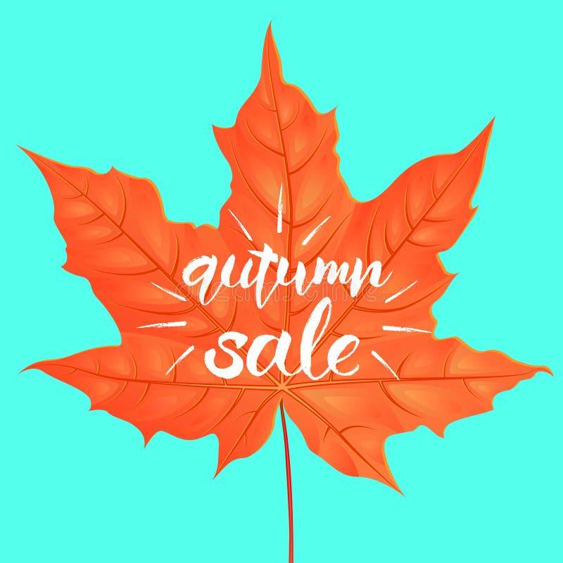Rotulação tirada mão de uma frase Autumn Sale Ilustração do vetor Forma da folha de bordo Molde creativo do projeto ilustração stock