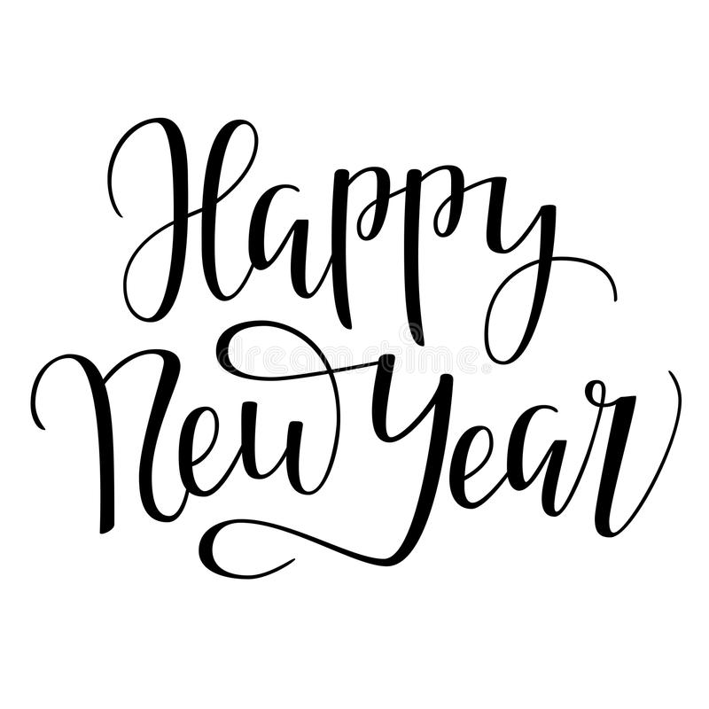 Rotulação tirada mão do ano novo feliz 2018 fotografia de stock