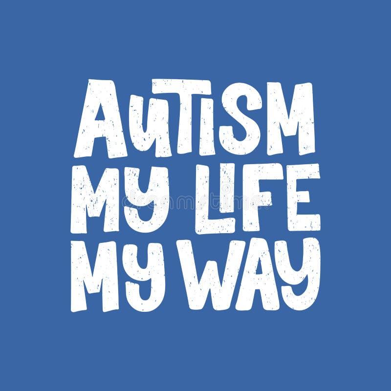 Rotulação tirada mão do autismo ilustração stock