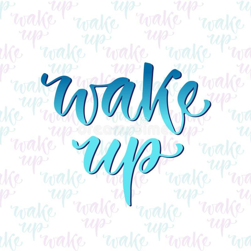 Rotulação tirada mão do vetor Mulher nova na cama na manhã Caligrafia moderna inspirador Frase inspirada para o cartaz e o ícone ilustração do vetor