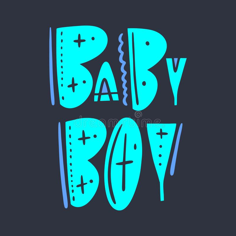 Rotulação tirada mão do vetor do sinal do bebê Isolado no fundo escuro Estilo escandinavo da tipografia ilustração stock