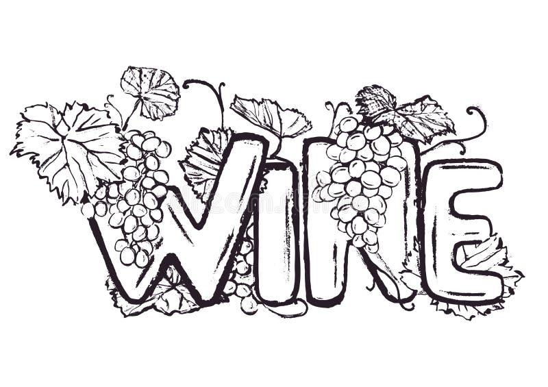 Rotulação tirada mão do vinho da tinta ilustração stock
