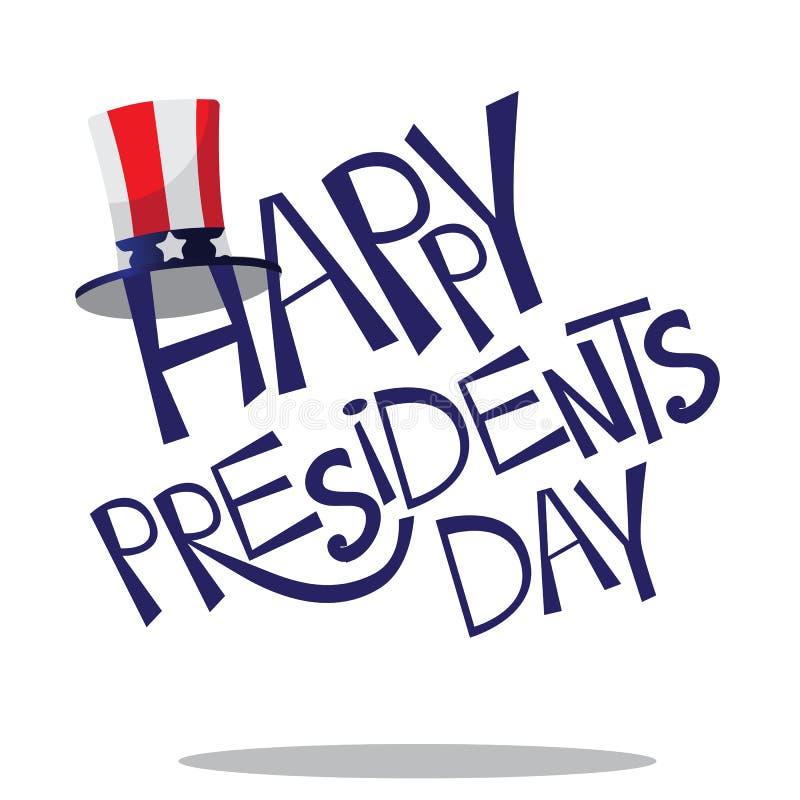 Rotulação tirada mão dos presidentes Dia ilustração stock