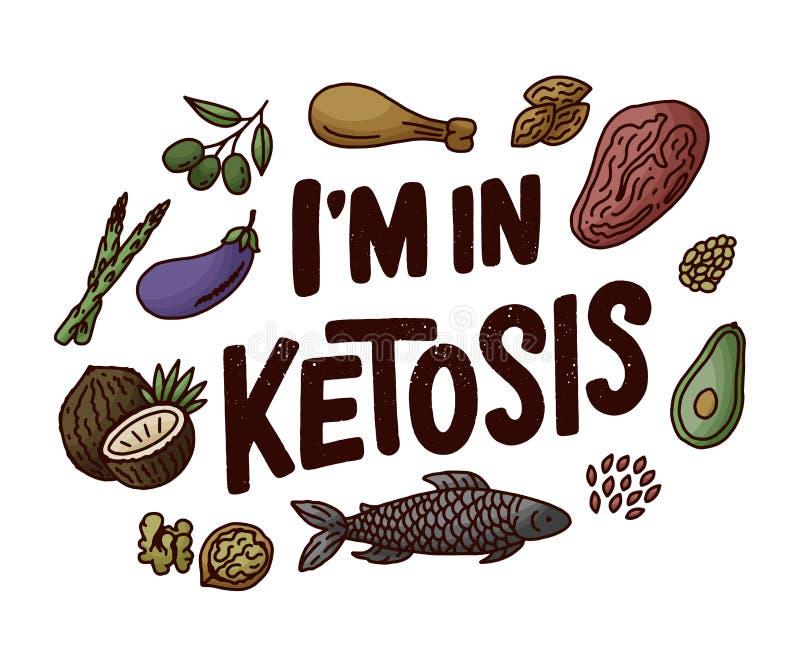 Rotula??o do esbo?o com elementos verdes da garatuja da dieta do keto para o projeto de conceito Ilustra??o desenhada m?o Aliment ilustração stock