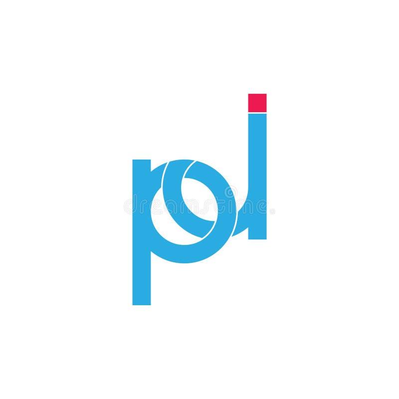 Rotula o vetor geométrico ligado simples do logotipo do pj ilustração royalty free