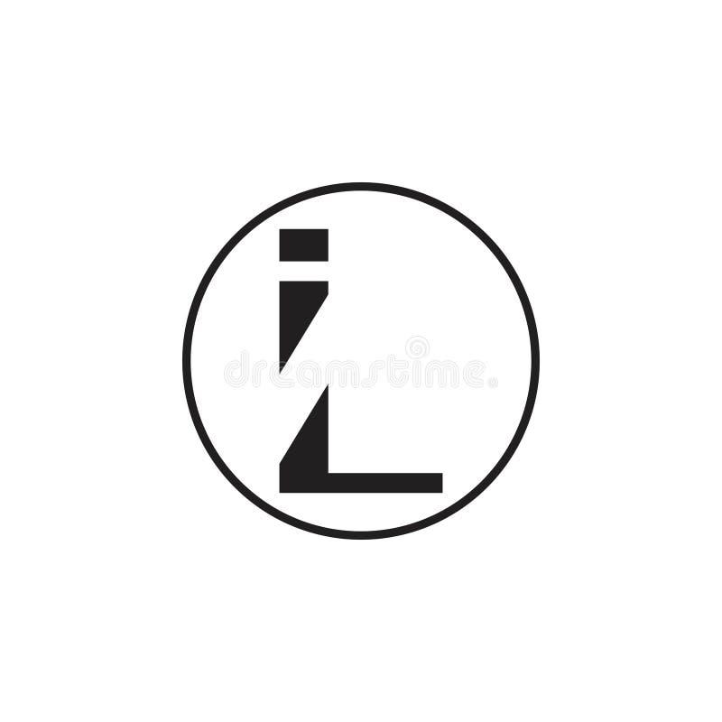 Rotula o vetor geométrico simples do logotipo do IL ilustração royalty free
