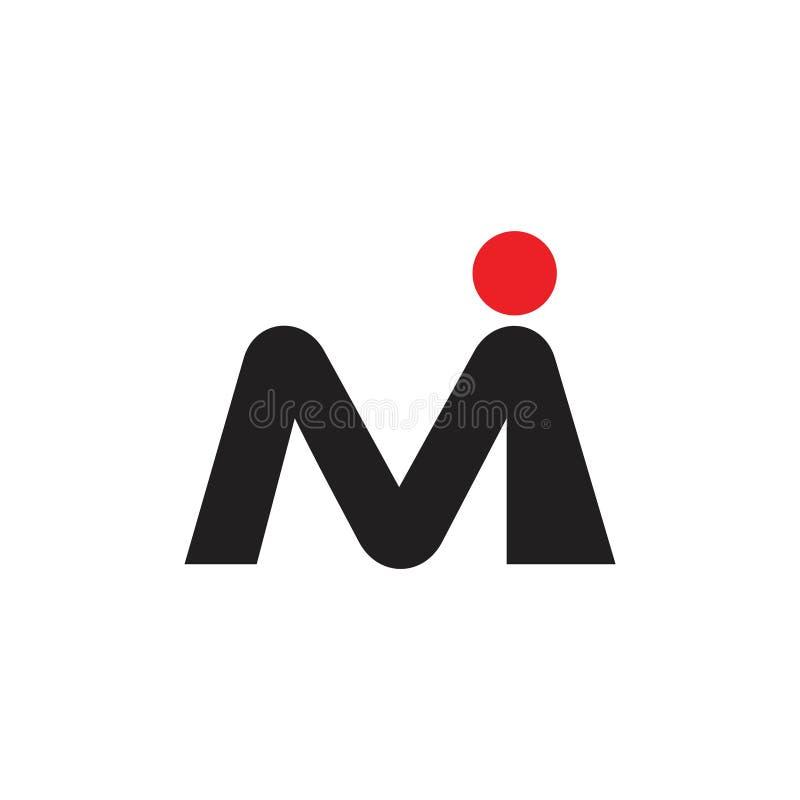 Rotula o vetor simples do logotipo do MI ilustração royalty free