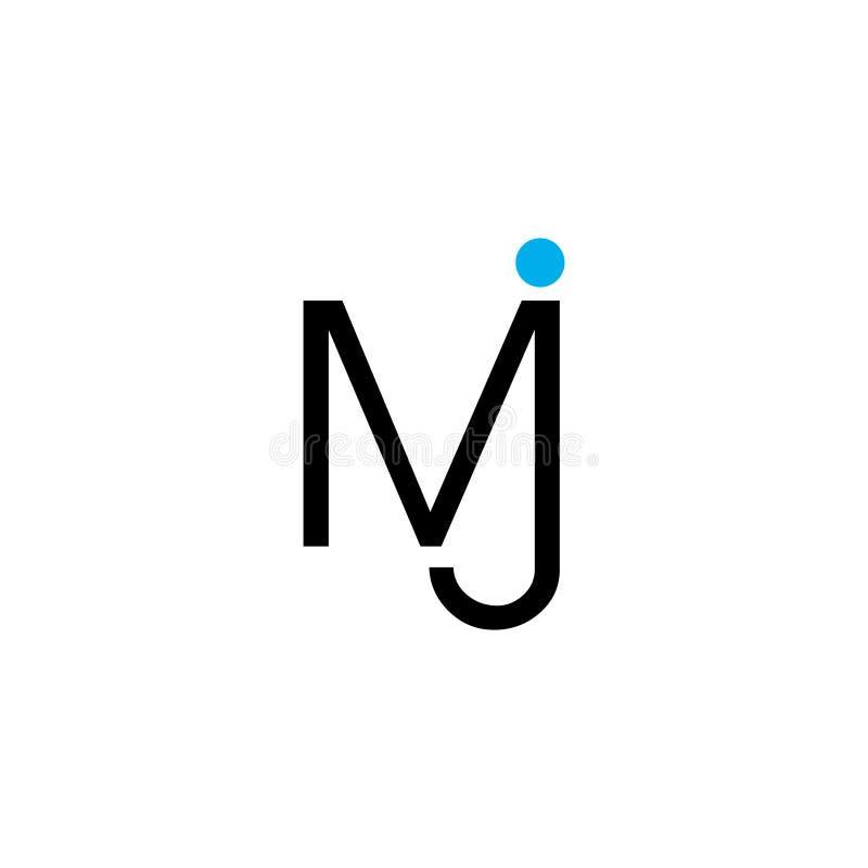 Rotula o vetor simples do logotipo do mj ilustração do vetor
