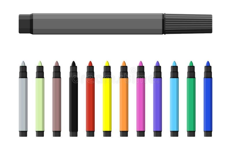 Rotulador Sistema de marcadores del color del varioust stock de ilustración