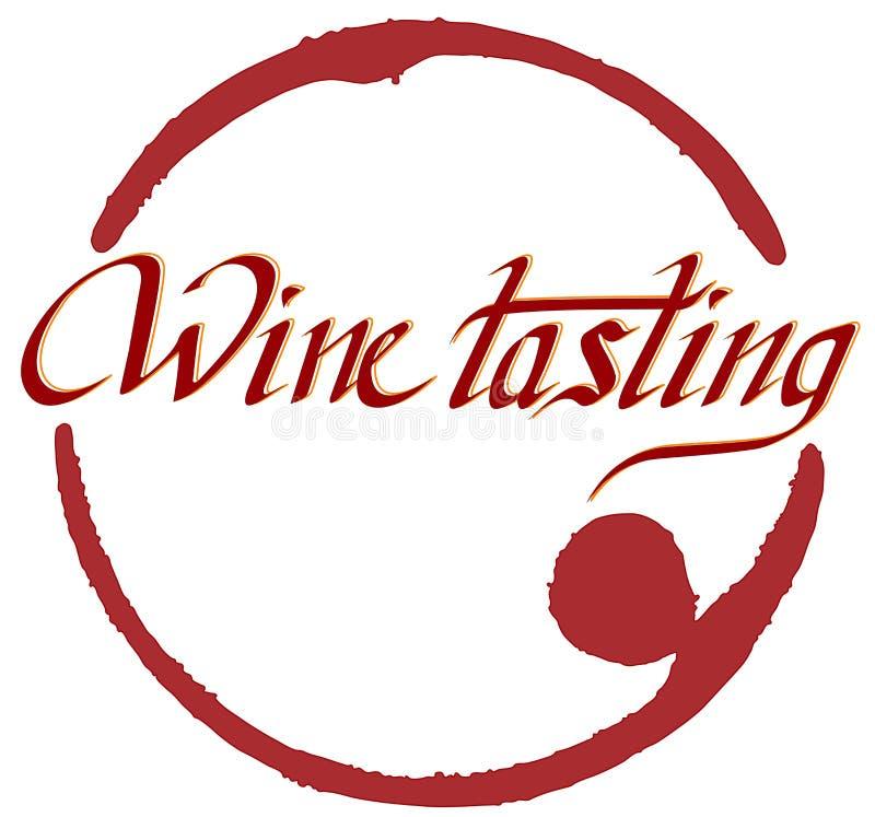 Rotulando 'a degustação de vinhos 'com marca ilustração royalty free