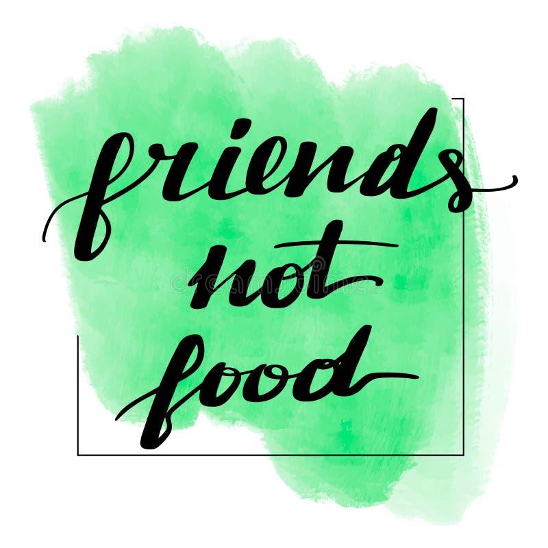 Rotulando o alimento dos amigos da inscrição não ilustração do vetor