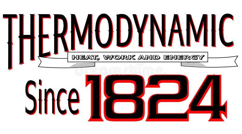 Rotulando o calor termodinâmica, o trabalho e a energia desde 1824 ilustração royalty free