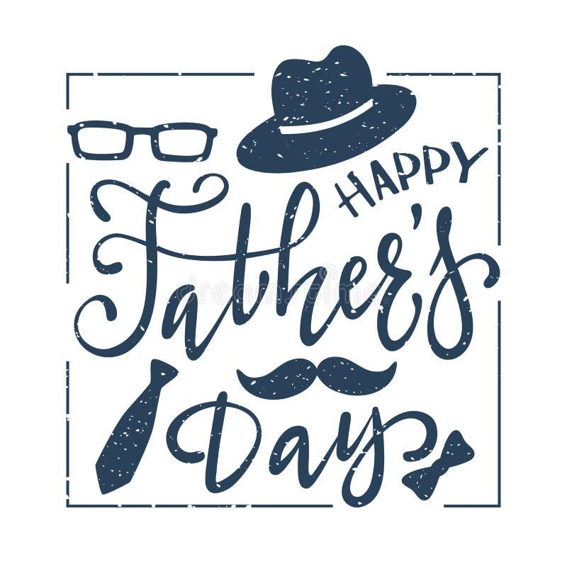 Rotulando o dia de pais feliz no fundo branco ilustração royalty free