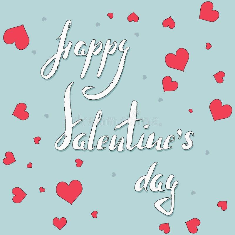 Rotulando o dia feliz do ` s do Valentim com corações cor-de-rosa no fundo azul ilustração do vetor