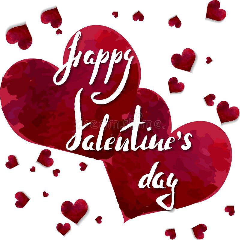 Rotulando o dia feliz do ` s do Valentim em corações da aquarela ilustração royalty free