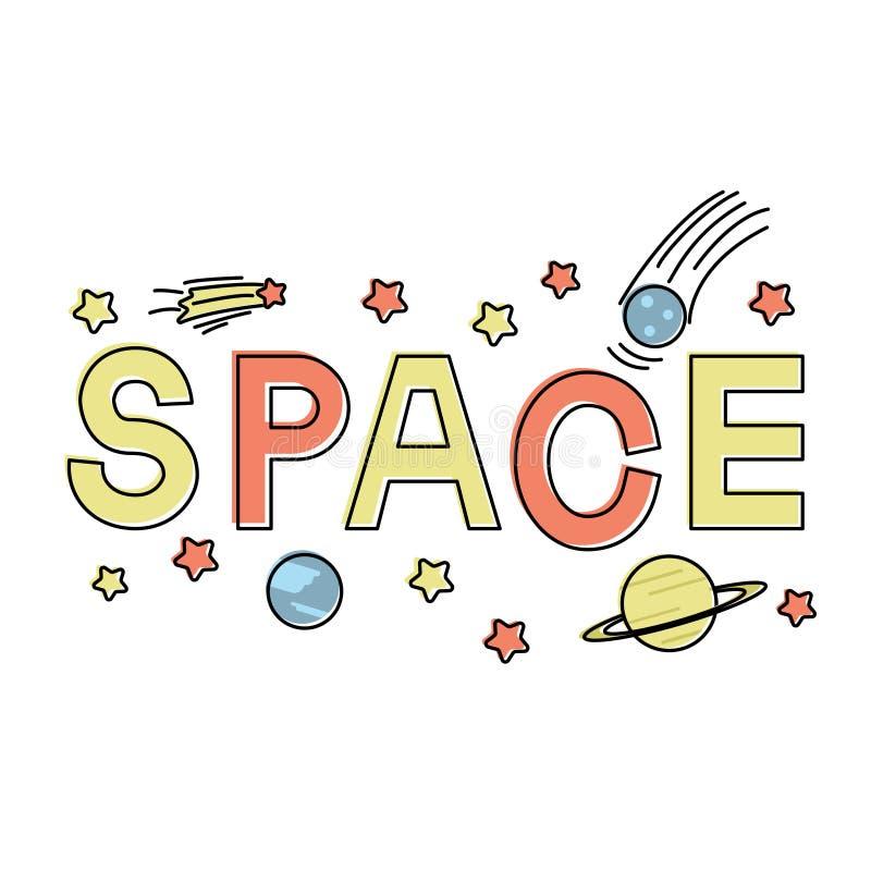 Rotulando o espaço da palavra com ícone liso do espaço ilustração royalty free