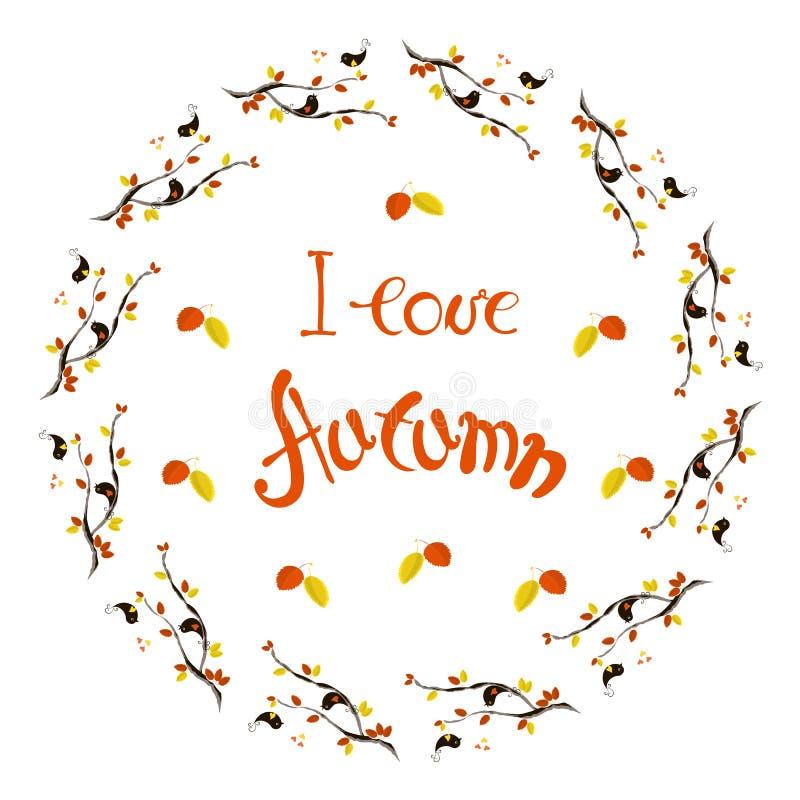 Rotulando o outono do amor de I, a grinalda com vermelho, amarelo sae, pássaros loving no fundo branco ilustração do vetor