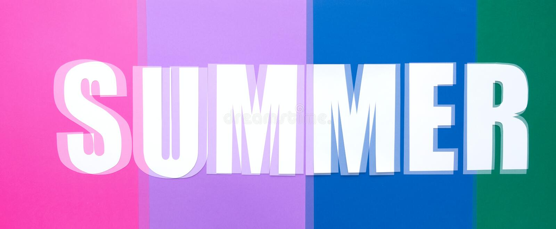 Rotulando o verão no fundo de papel colorido glitch ilustração stock