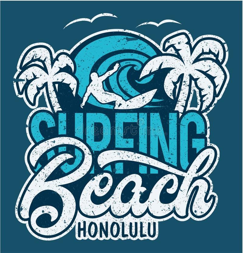 Rotulando a praia surfando Honolulu ilustração do vetor
