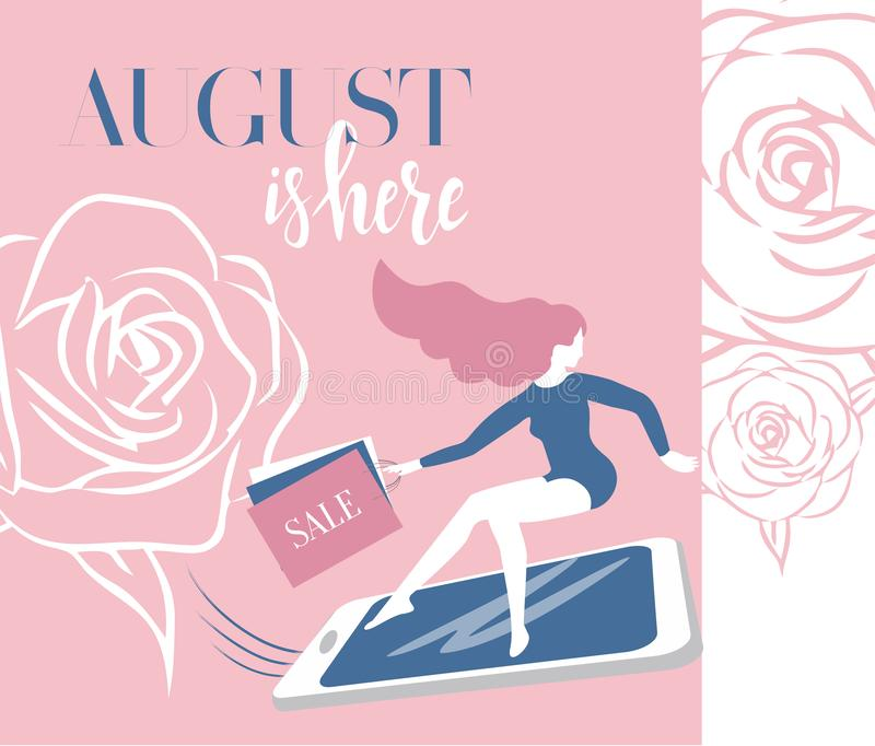 Rotular agosto está aqui Menina cor-de-rosa no smartphone com pressa à venda com a bandeira do desconto do vetor dos sacos de com ilustração do vetor