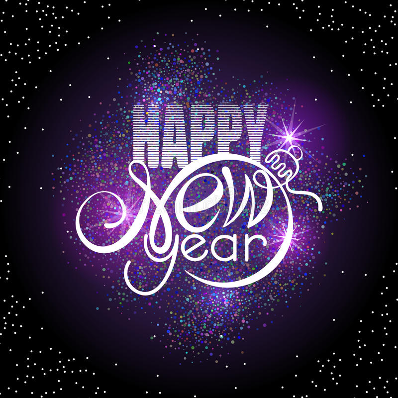 Rotular o ano novo feliz na incandescência colorida sparkles fundo Forma do texto mesmos que a bola do Xmas ilustração royalty free