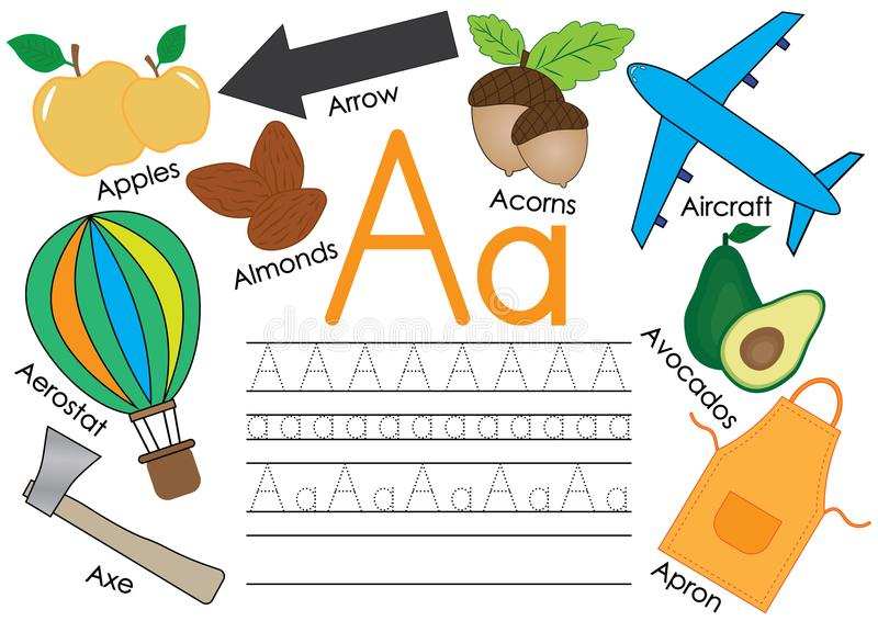 Rotule A Aprendendo o alfabeto inglês com imagens e escrita da prática para crianças Ilustração do vetor ilustração stock
