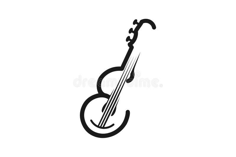 Rotule E, guitarra para a mono linha musical Logo Designs Inspiration, ilustração do vetor ilustração do vetor