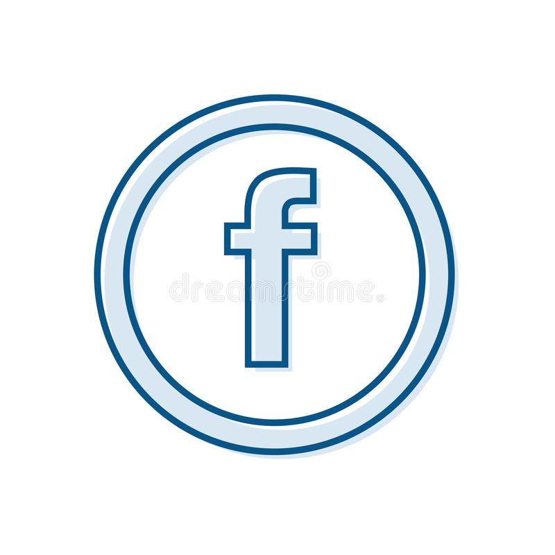 Rotule F, ícone na moda redondo do esboço para conceitos sociais dos meios Projeto do vetor ilustração royalty free