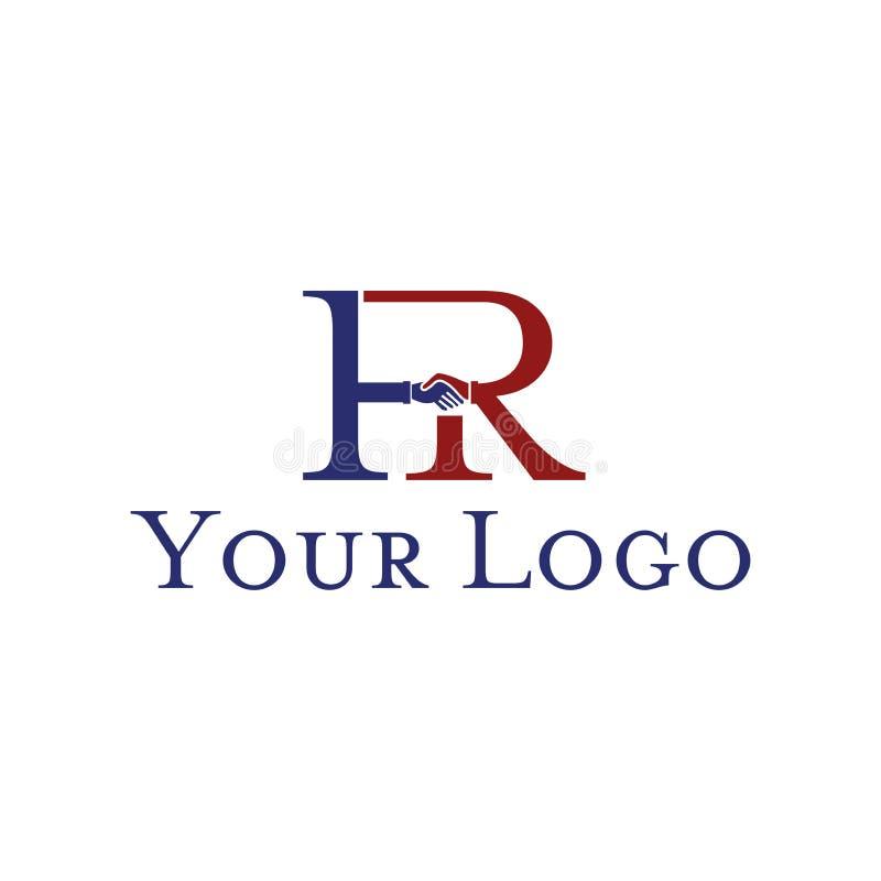 Rotule F e R com para agitar as mãos no fundo branco Molde do projeto do logotipo Projeto liso ilustração stock
