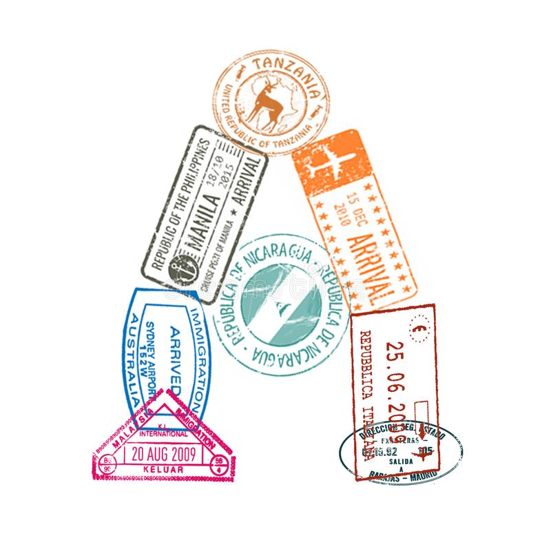 Rotule A fez de selos internacionais do passaporte em um fundo branco Isolado ilustração royalty free