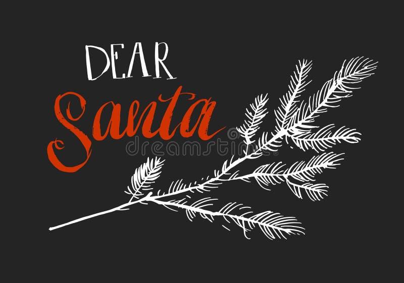 Rotule a ilustração do Feliz Natal de Papai Noel no fundo azul Caro Papai Noel ilustração royalty free